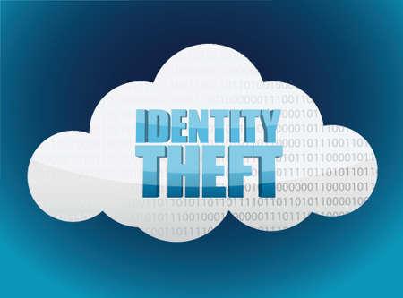 個人情報の盗難、白い背景の上の雲光沢のあるアイコン イラスト デザイン