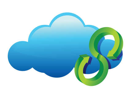 Cycle Cloud glossy icon illustration design over a white background