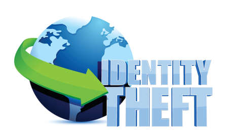 theft: identity theft globe sign illustration design over a white background
