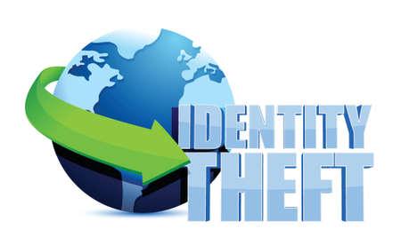 identity theft: identity theft globe sign illustration design over a white background