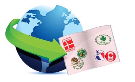 Ouvert globe passeport illustration signe la conception sur un fond blanc Banque d'images - 17966499