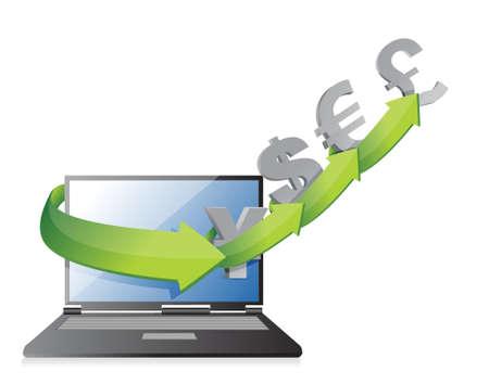 laptop screen: flechas moneda concepto en una pantalla de ordenador port�til, dise�o, ilustraci�n