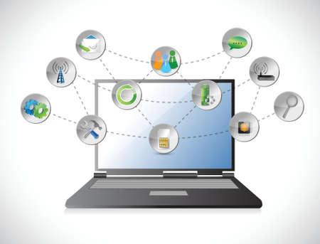 흰색 배경에 고립 된 다채로운 응용 프로그램 아이콘의 노트북 구름