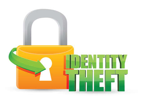 identity protection: secured identity theft Gold lock illustration design over a white background