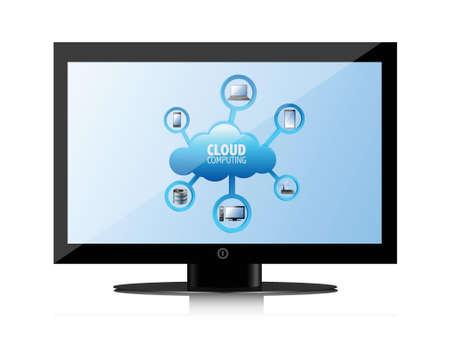 cloud computing concept on a laptop screen, illustration design Vector