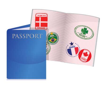 흰색 위에 착용 된 미국 여권 그림 디자인을 엽니 다 일러스트