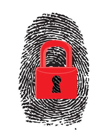 forensics: Finger Print with closed, red u-lock illustration design over white