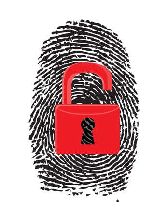 forensics: Finger Print with unlocked, red u-lock illustration design over white