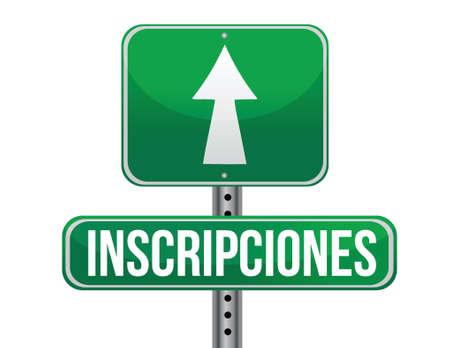 registrations in Spanish green traffic road sign illustration design over white Stock Vector - 17966331
