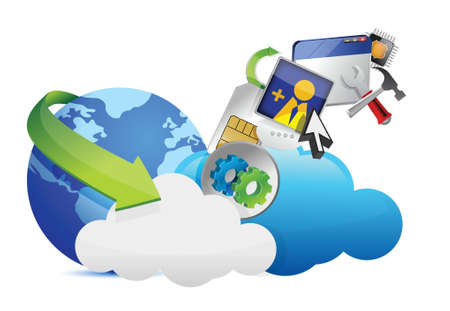 cloud of colorful application icons isolated on white background