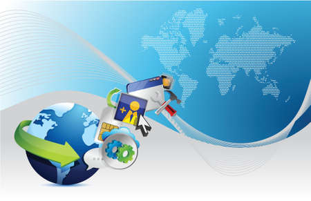 global application over a modern technology blue background Vector