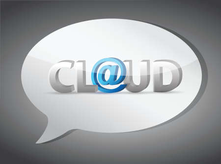 cloud at sign speech bubble illustration design over white Vector