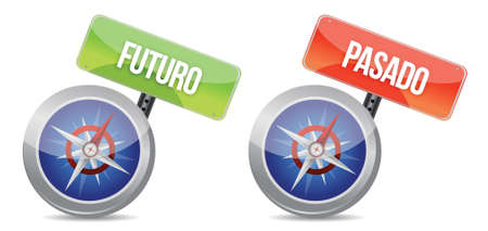 future and pass Glossy Compass sign in spanish illustration design over white Stock Vector - 17966716