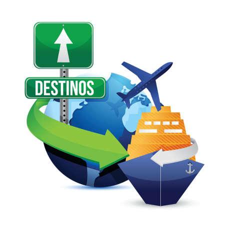 transmit: Spanish travel concept illustration design over a white background