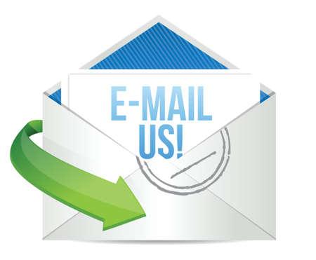 email us: e-mail concetto ci rappresenta email design illustrazione su bianco