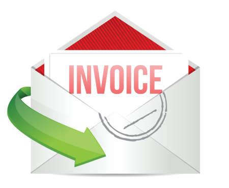 Facture Concept illustration dessin représentant email sur blanc Banque d'images - 17966646