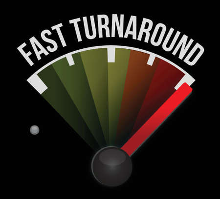 fast turnaround meter illustration design over a dark background Vector