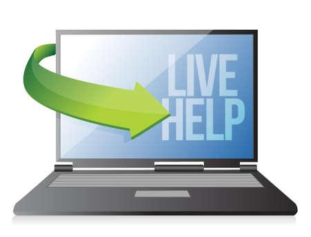 laptop computer live help illustration design over white