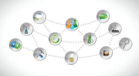 communication concept: network tools connection illustration over a white background