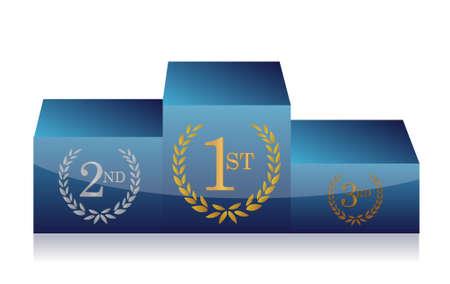 winners podium illustration design on white background
