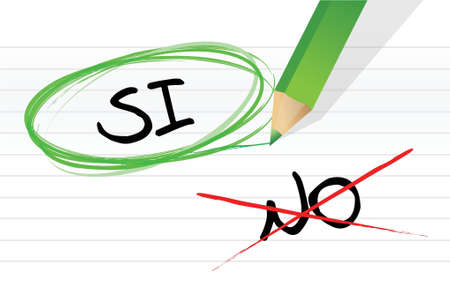 yes and no selection in Spanish illustration design on a notepad Stock Vector - 17966630