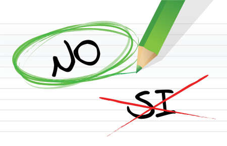 yes no: yes and no selection in Spanish illustration design on a notepad