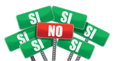 yes no: Yes and No signs in Spanish isolated on white background