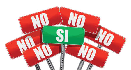 Yes and No signs in Spanish isolated on white background Vector