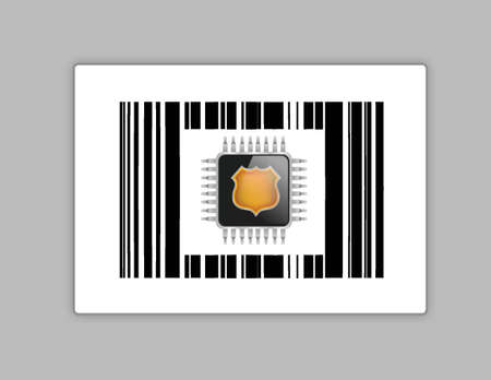 technology chip upc or barcode illustration design over white Stock Vector - 18002480