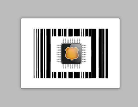 technology chip upc or barcode illustration design over white Stock Vector - 18002480
