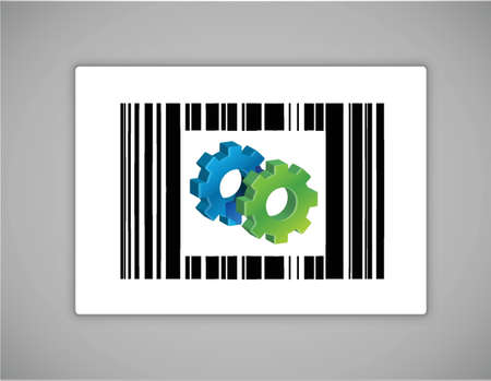 quick response: gear upc or barcode illustration design over white