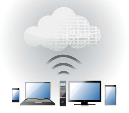 mobile website: Cloud Computing electronic wifi Concept illustration design over white Illustration
