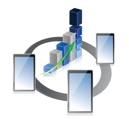 superacion personal: tablet o una almohadilla con las empresas o los beneficios del crecimiento gr�fico de barras de dise�o de la ilustraci�n