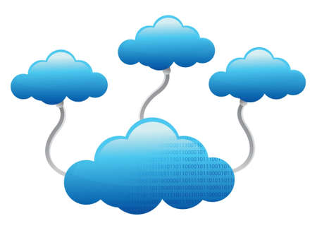 cloud shape: Cloud Computing electronic wifi Concept illustration design over white Illustration