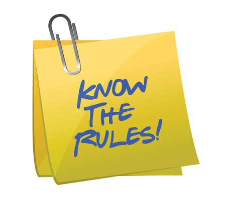 règle: conna�tre les r�gles �crites sur un post it design illustration