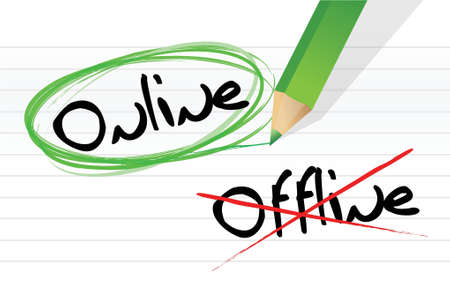 online and offline selection options illustration design over white Stock Vector - 18002474