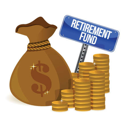 retirement fund money bag illustration design over a white background Vector