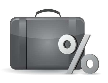 Zwart business case en het percentage symbool op de witte achtergrond