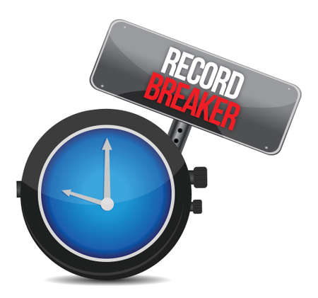 quicker: clock with words Record Breaker illustration design over a white background