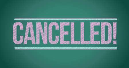 canceled: cancelled written with chalk on blackboard illustration design