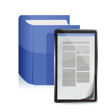 E-book reader concept. Tablet pc illustration design Vector