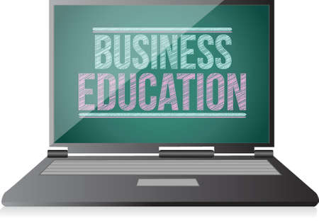 studing: Business Education on display. laptop illustration design