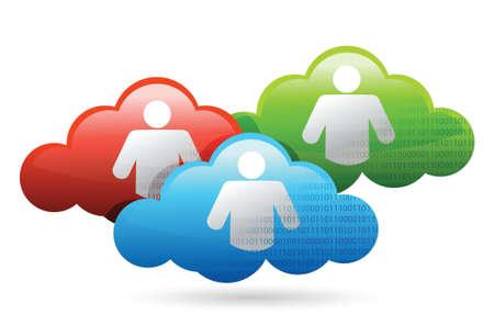 wheather forecast: Cloud glossy social media binary network illustration design