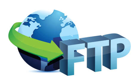 ftp: ftp global concept illustration design over a white background