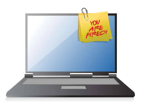 rejection: You are fired note on a laptop illustration design