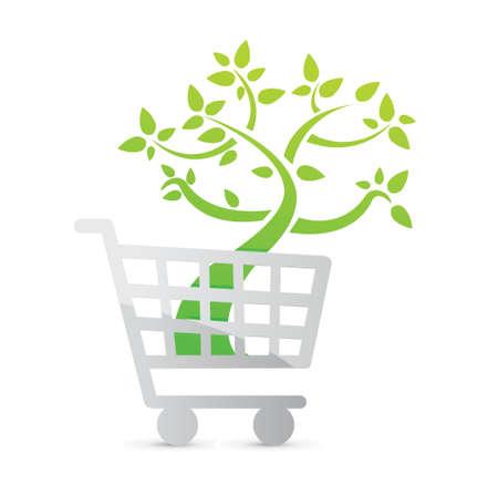 Shopping cart icon, organic concept illustration design over white