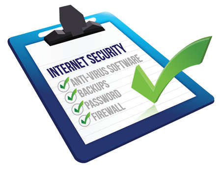 Checklist for internet security on a clipboard, illustration design
