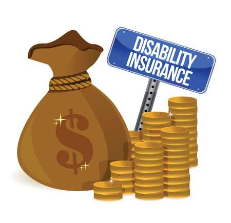disability insurance: Assicurazione invalidit� design illustrazione su sfondo bianco