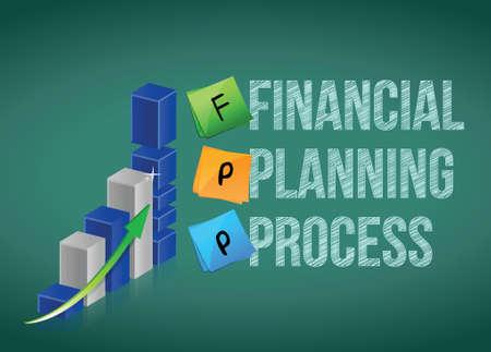 reviser: processus de planification financi�re. Design illustration Business graph