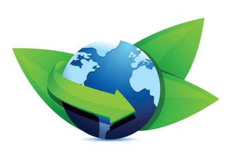 green earth globe illustration design over a white background Stock Vector - 18063769